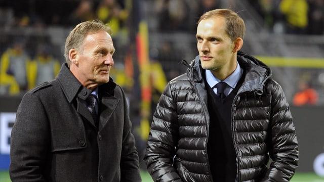 Dortmund-Geschäftsführer Hans-Joachim Watzke im Gespräch mit Trainer Thomas Tuchel.