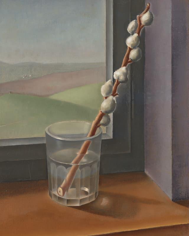 Gemälde eines Weidekätzchens in einem Glas Wasser auf einem Fensterbrett.