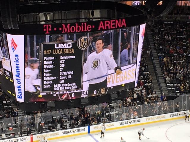 Eishockey-Spieler auf Videowürfel.