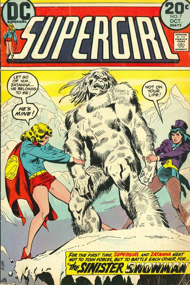 Titelbild eines Supergirl-Comics, das Supergirl im Kampf mit einem Yeti zeigt.
