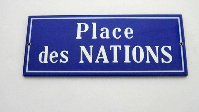 Ein Schild der Stadt Genf.