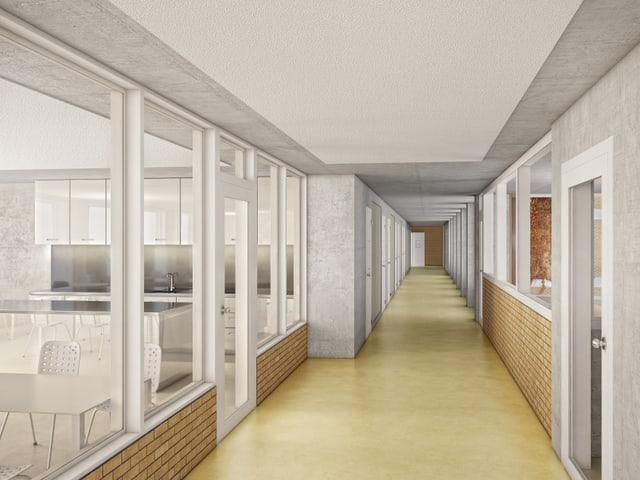 Innensicht eines Gefängnisses, Zellenkorridor