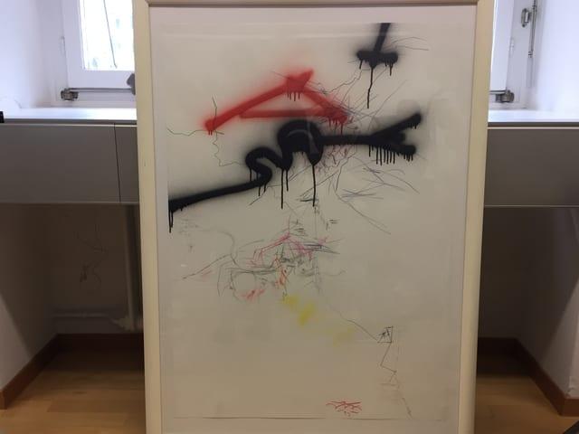 Bild mit roten und schwarzen Strichen