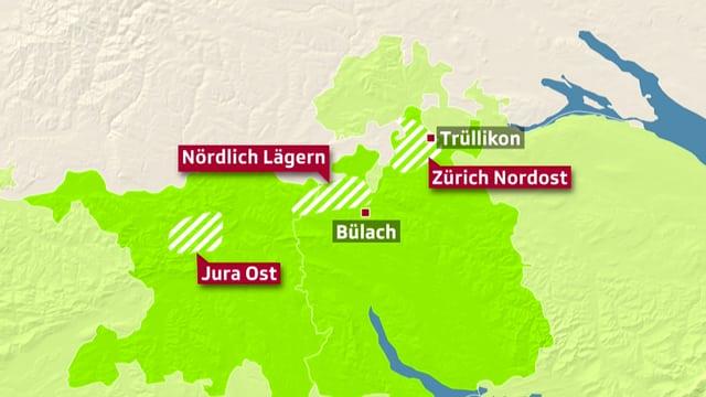 Karte, die mögliche Standorte für radioaktive Tiefenlager zeigt.