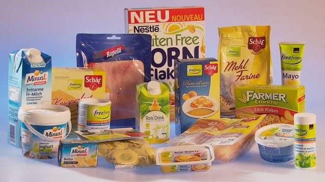 Allergenfreie Produkte, aufgestapelt