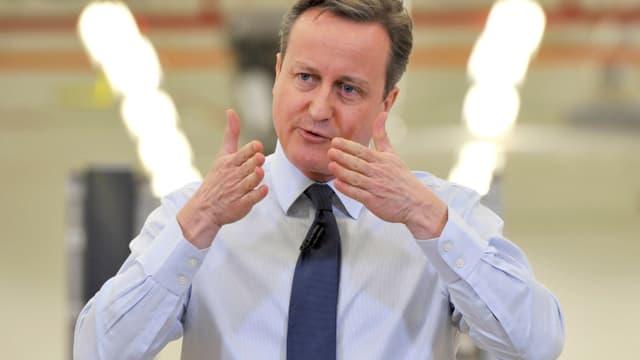 Der britische Premierminister David Cameron gestikuliert.