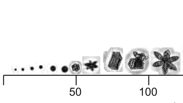 Grössenvergleich zwischen Wasser- und Eispartikel