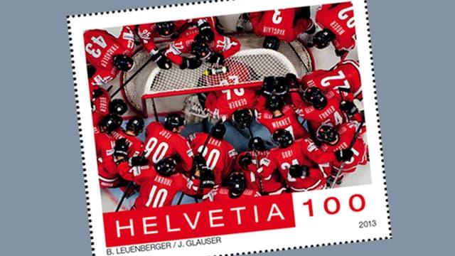 Neue Briefmarke mit der Schweizer Eishockey-Nationalmannschaft