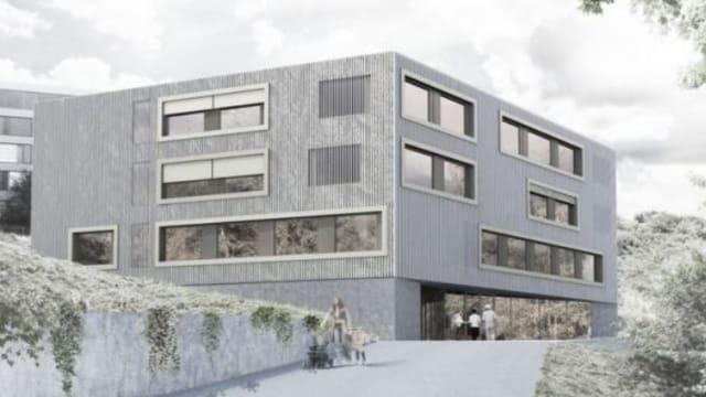 Blick auf eine Visualisierung der neuen Kinder- und Jugendpsychiatrie in Liestal.