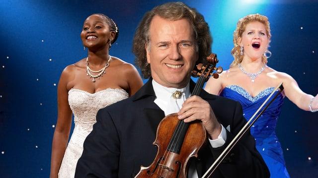 André Rieu mit zwei Solistinnen.
