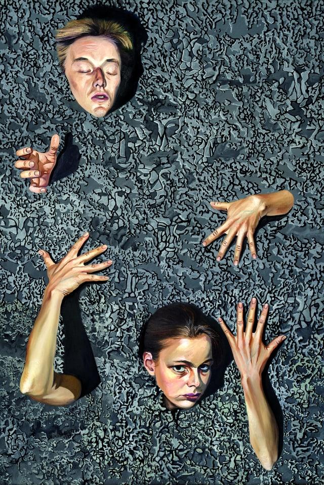 Ein Gemälde: zwei Leute ertrinken in einem bläulichen Lehm.