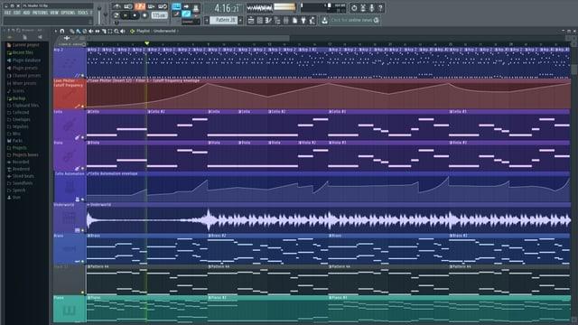 So sieht ein Projekt in FL Studio aus, bevor man das fertige Lied exportieren kann.