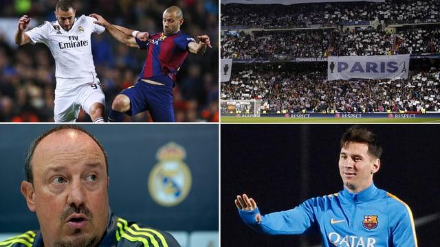 Benzema mit Mascherano, Real Zuschauer, Benitez und Messi