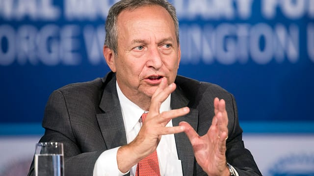 Larry Summers gestikuliert mit aufgestützen Ellenbogen.