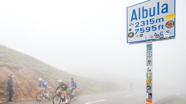 ciclists al pass da l'Alvra