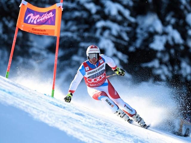 Beat Feuz beim Abfahrtstraining in Garmisch