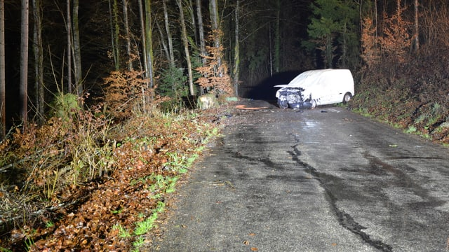 Ein Auto steht quer auf einer Waldstrasse. Die Front ist eingedrückt