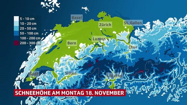 Schweizer Karte, die die aktuelle Schneehöhe zeigt.