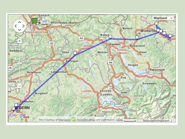 Schweizer Karte mit eingezeichneter Route.