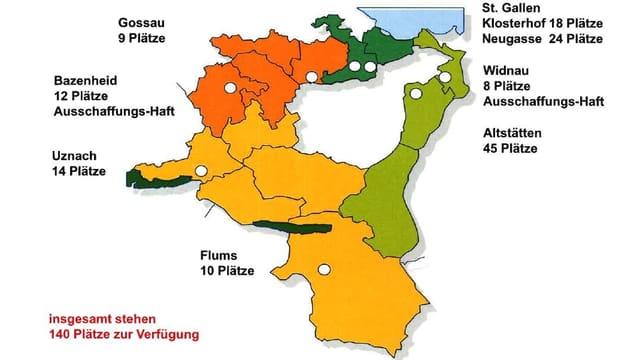 Karte mit den Gefängnissen im Kanton St. Gallen
