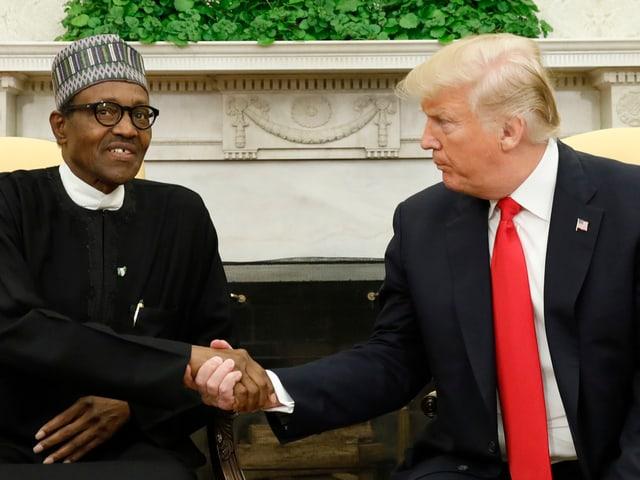 Buhari und Trump reichen sich die Hand.
