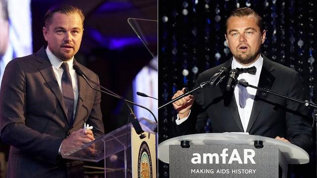 Leonardo DiCaprio am «Riverkeeper's Fishermen's Ball» in New York (links) und bei der Aids-Gala in Cannes.