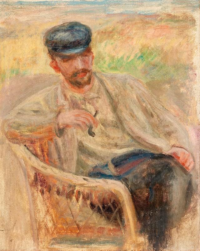 Ein Gemälde: Ein Mann sitzt in einem Gartenstuhl in einem Feld. Er hält eine Pfeife in der Hand.