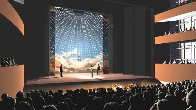 Eine Visualisierung zeigt die Salle Modulable aus der Sicht des Zuschauerraums.