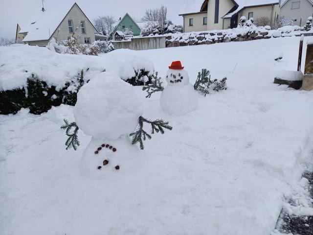 Schneemann auf dem Kopf