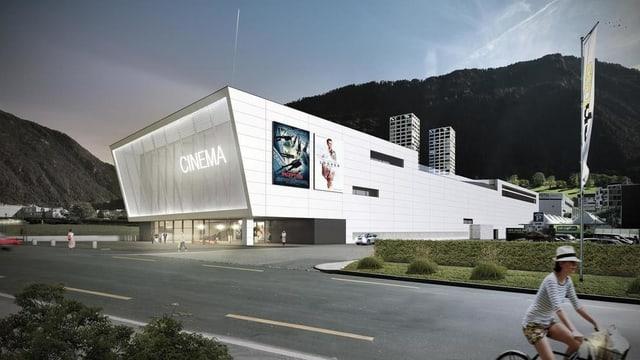 Visualisaziun dal complex da kino a Cuira Vest.