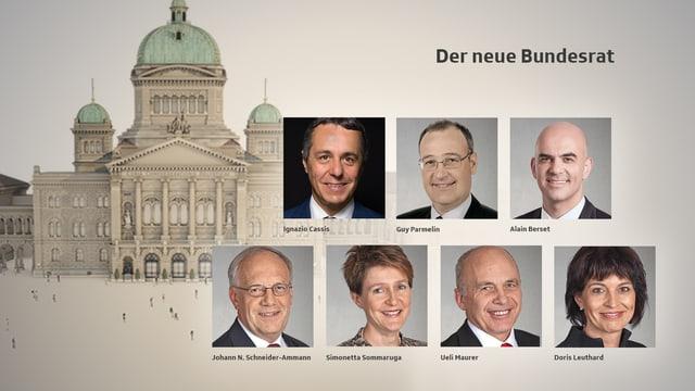 Köpfe aller Bundesratsmitglieder, dahinter Bundeshaus