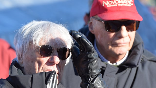 Bernie Ecclestone e Niki Lauda en l'arrivada da la Streif.