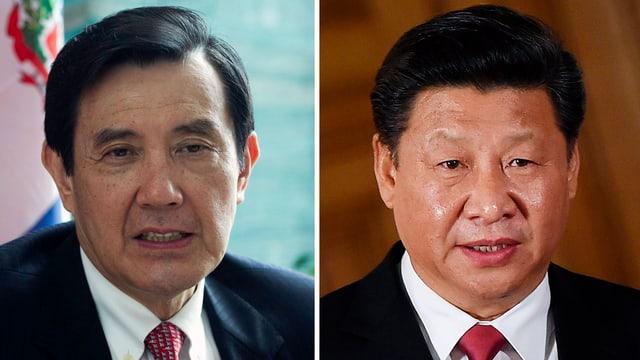 Taiwans Präsident Ma Ying-jeou (links) und Chinas Staatschef Xi Jinping nebeneinander in Einzelfotos