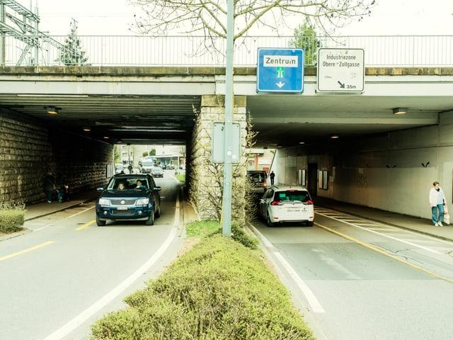 Voilà, das Dorf-Zentrum von Ostermundigen: Die Unterführung des Bahnhofs.