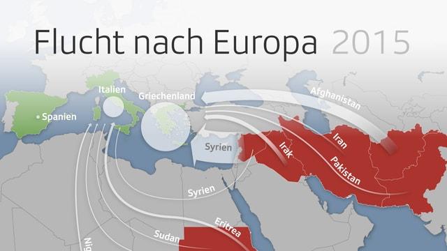 Grafische Darstellung der Fluchtrouten von Afrika und aus dem Nahen Osten nach Europa.