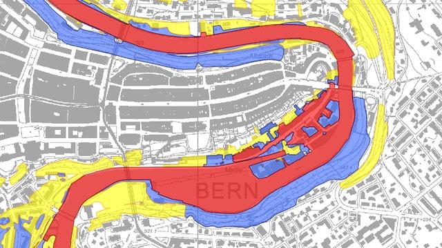 Ausschnitt aus der Gefahrenkarte der Stadt Bern mit dem Matte-Quartier an der Aare.