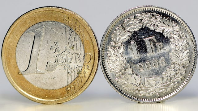 Ein-Euormünze neben Einfänkler