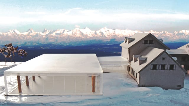 Visualisierung des Hotels auf dem Weissenstein / Im Hintergrund die Berge