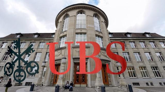 Die Uni Zürich, darüber das UBS-Logo.
