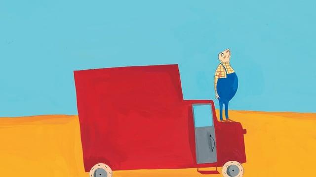 eine Zeichnung eines roten Lastwagens und ein Mann steht drauf