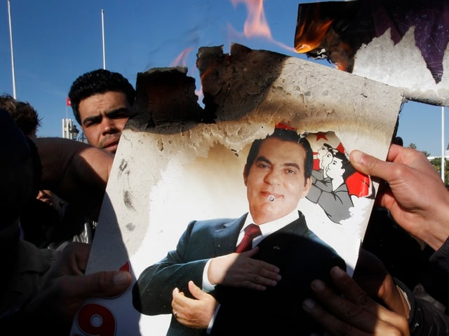 Demo gegen Ben Ali in Tunis 2011.