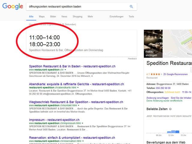 Screenshot Google mit Öffnungszeiten Restaurant Spedition Baden.