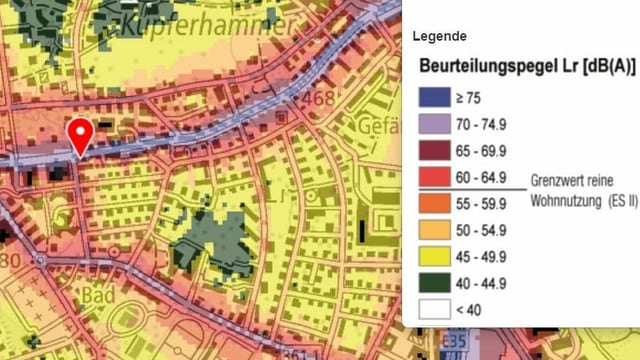 Ausschnitt der Lärmkarte des Bundes von der Luzernerstrasse in Kriens.