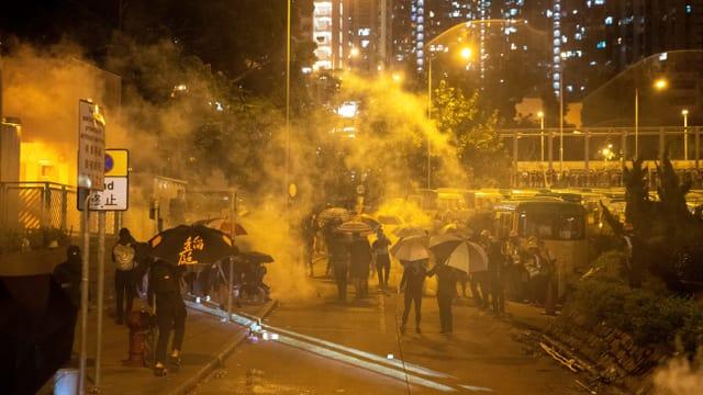 Gaswolken hüllen Demonstranten ein