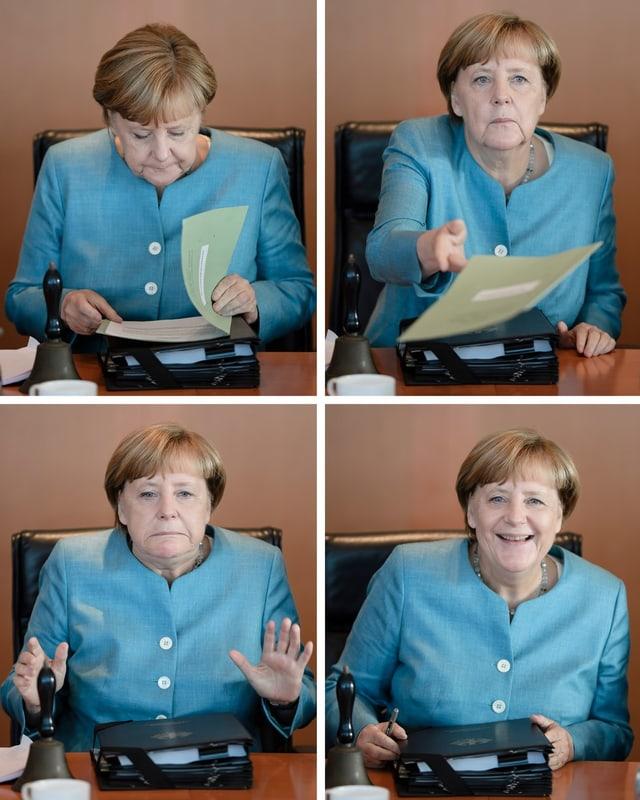 Quatter maletgs dad Angela Merkel durant ina sesida cun ses cabinet da regenza.