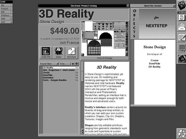 Screenshot des ersten App-Stores: Eine 3D Software für $ 449 wird angeboten.