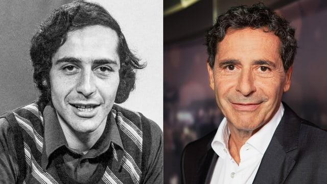 Zwei nebeneinander geschnittene Porträt-Bilder von Roger Schawinski. Links in schwarz-weiss aus den 70er Jahren. Rechts in Farbe aus dem Jahr 2014.