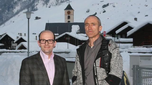 Remo Stoffel e Pius Truffer a Val S. Pieder, las chasas han naiv sin tetg