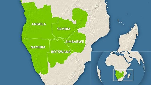 Eine Karte des südlichen Afrikas, mit Botswana, Sambia, Simbabwe, Namibia und Angola.