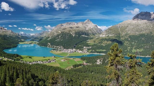 Oberengadiner Seen Aufnahme aus der Luft